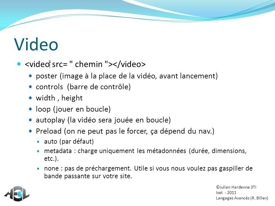 Video <video src= chemin ></video>