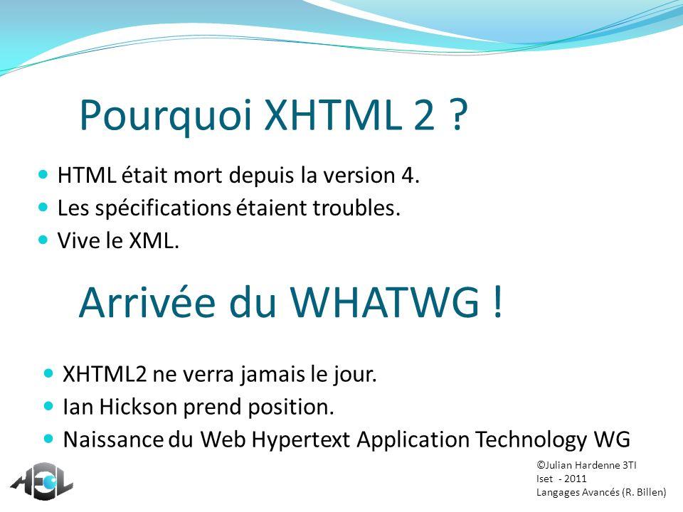 Pourquoi XHTML 2 Arrivée du WHATWG !
