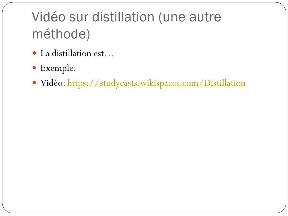Vidéo sur distillation (une autre méthode)