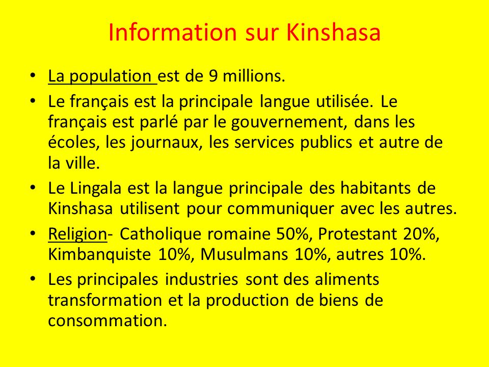 Information sur Kinshasa
