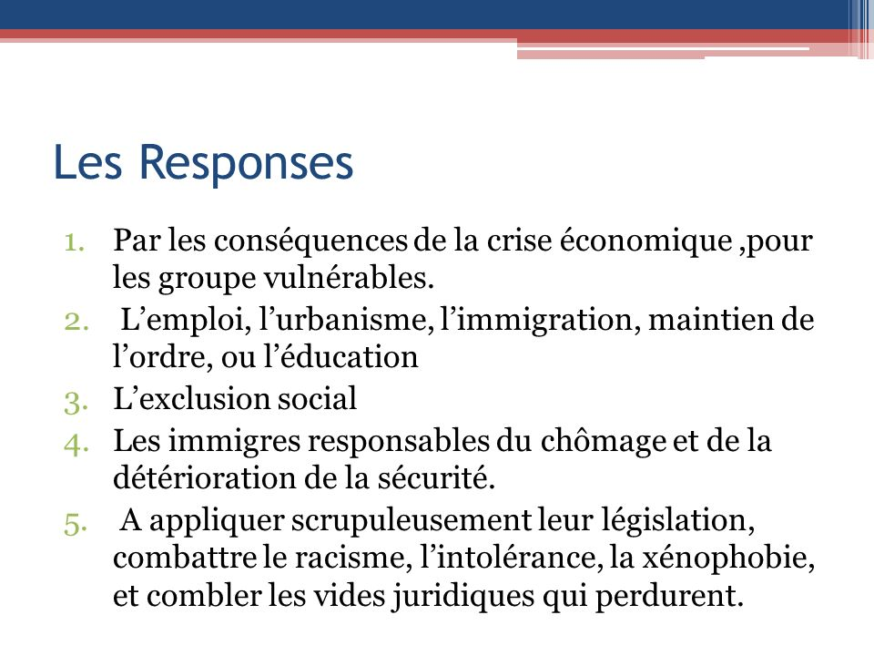 Les Responses Par les conséquences de la crise économique ,pour les groupe vulnérables.