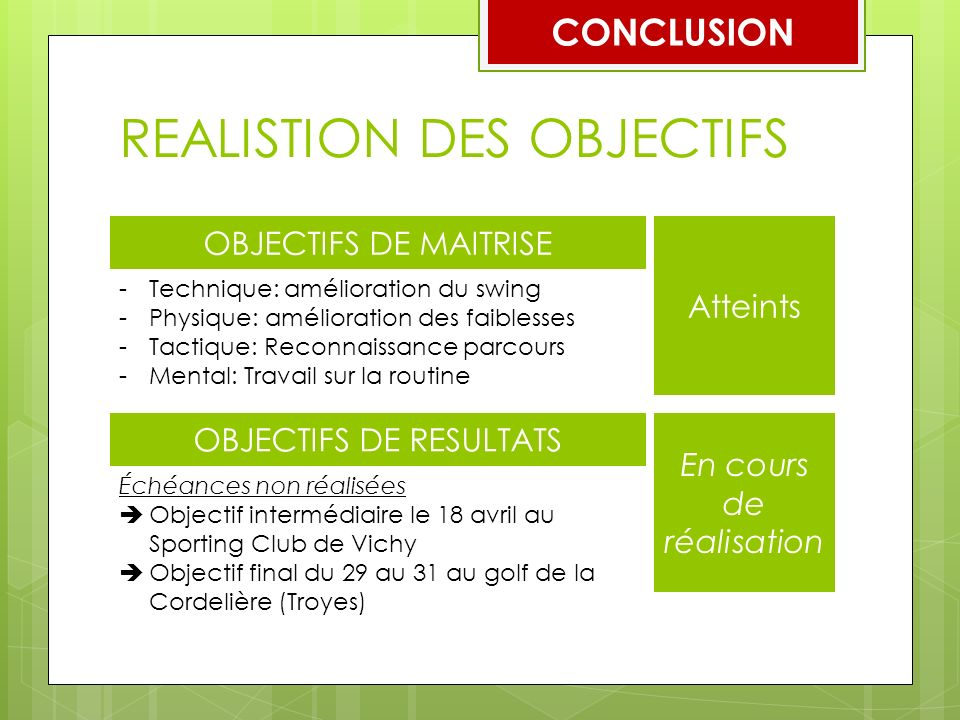 REALISTION DES OBJECTIFS