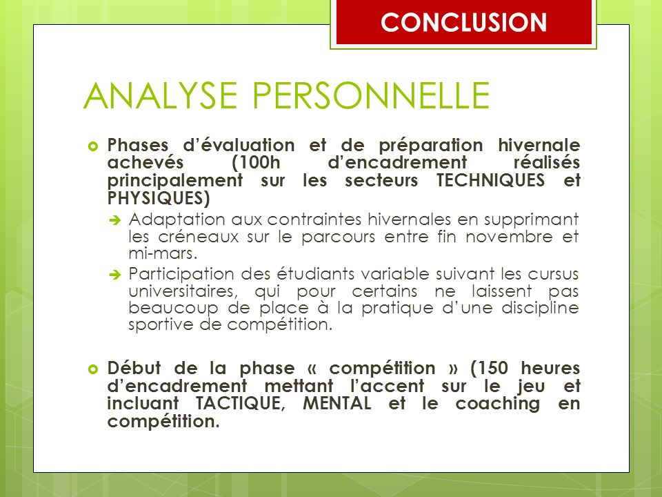 ANALYSE PERSONNELLE CONCLUSION