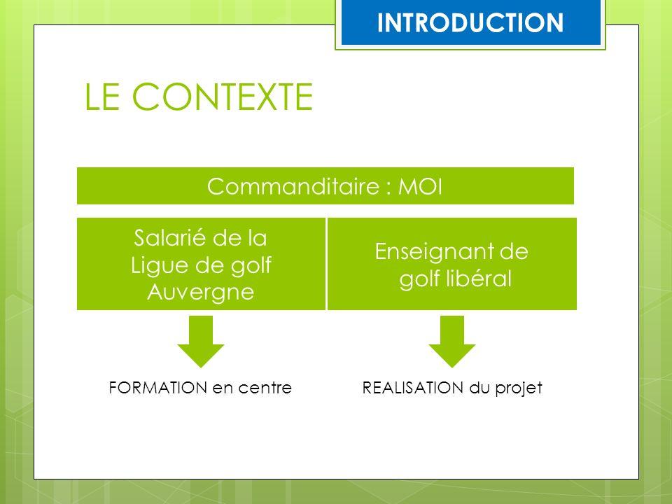 LE CONTEXTE INTRODUCTION Commanditaire : MOI Salarié de la
