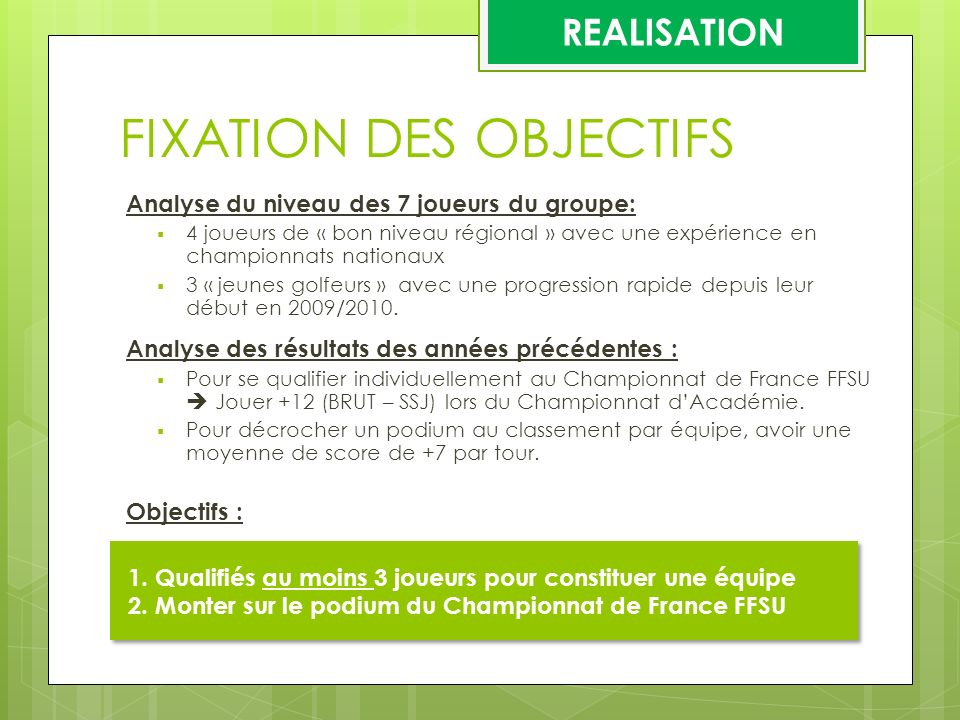 FIXATION DES OBJECTIFS