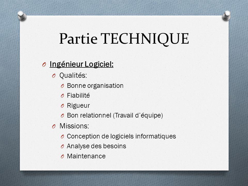 Partie TECHNIQUE Ingénieur Logiciel: Qualités: Missions: