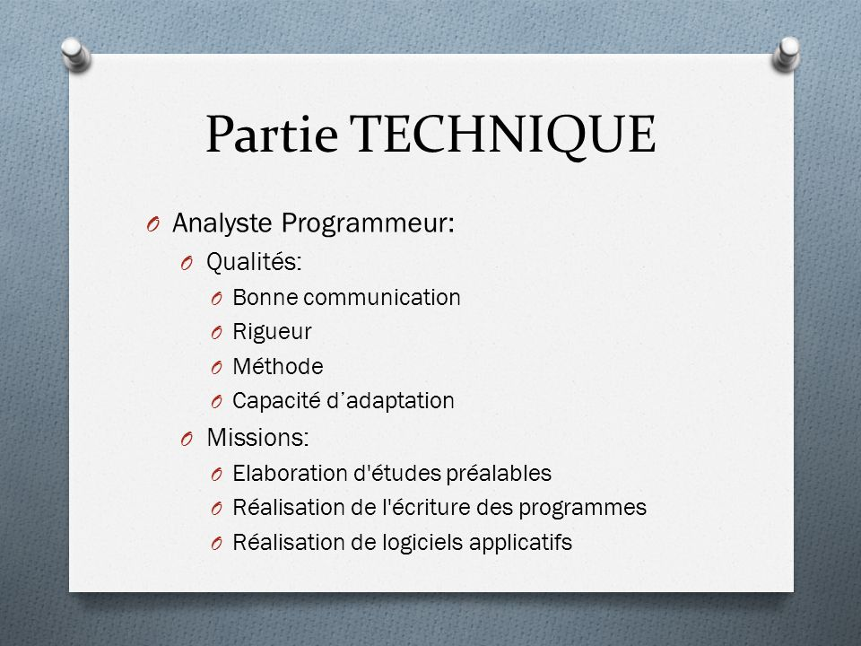 Partie TECHNIQUE Analyste Programmeur: Qualités: Missions: