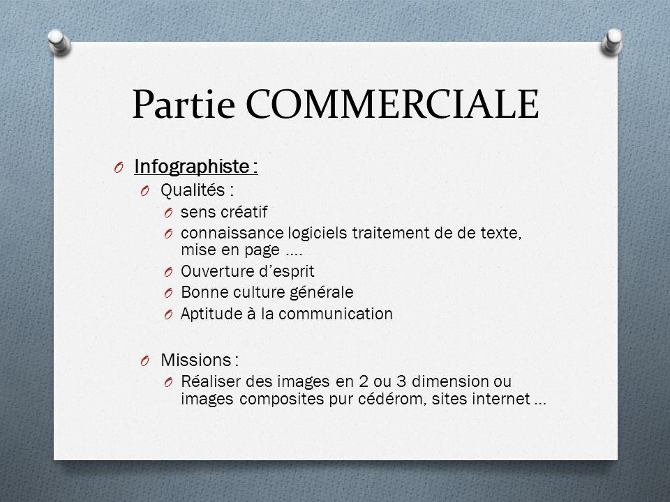Partie COMMERCIALE Infographiste : Qualités : Missions : sens créatif