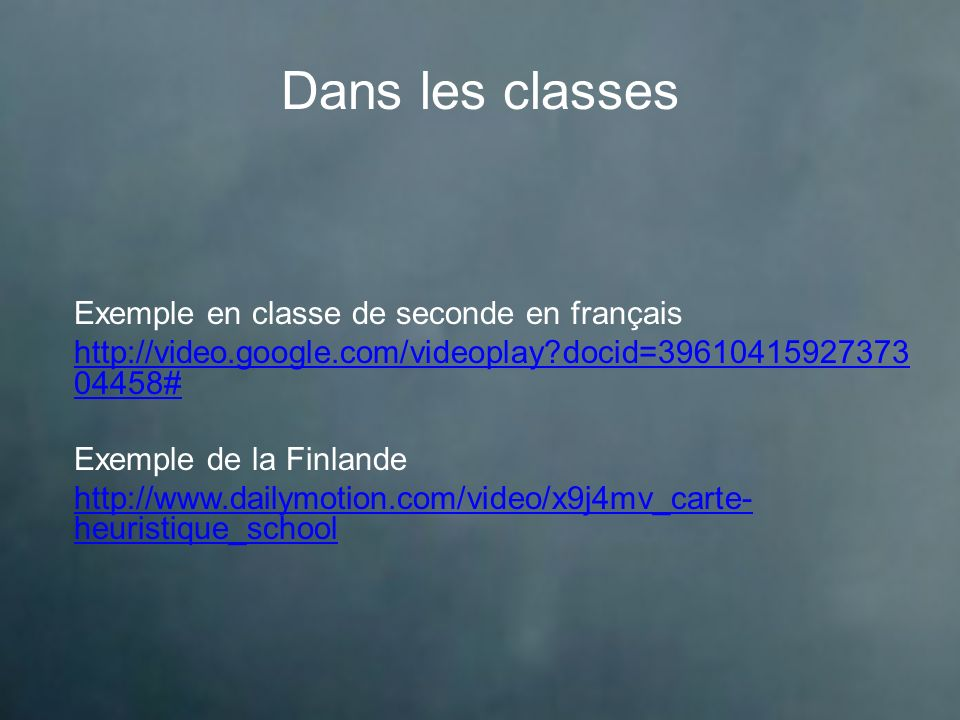 Dans les classes Exemple en classe de seconde en français
