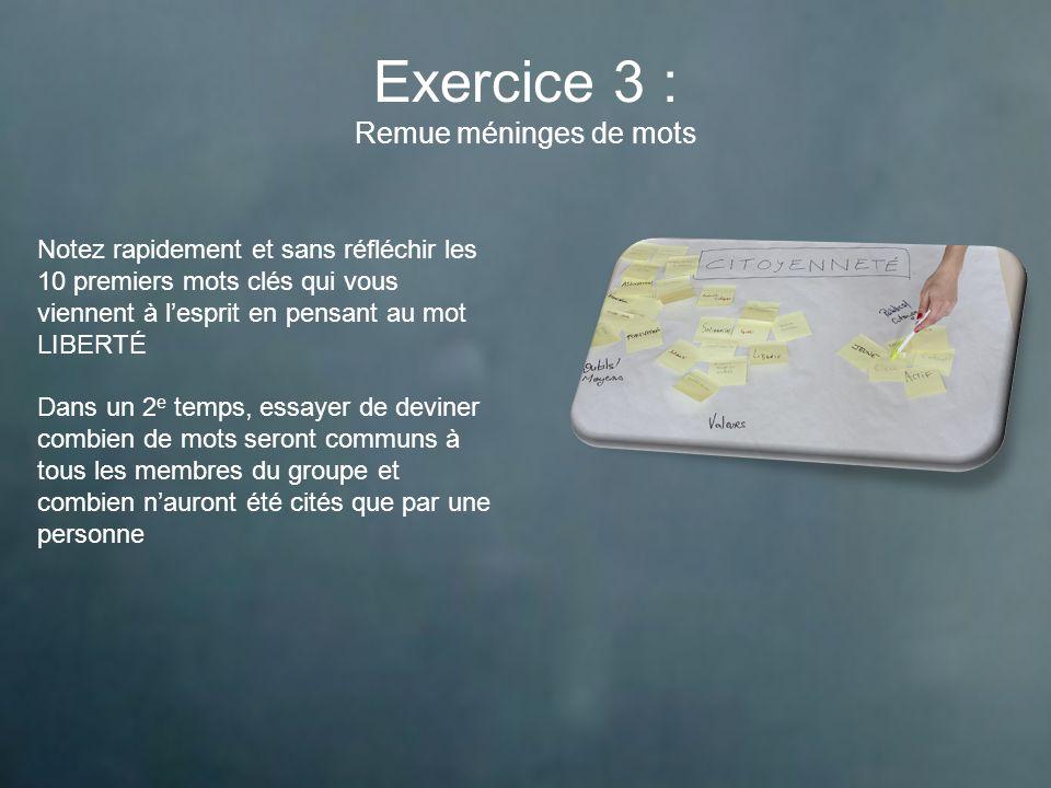 Exercice 3 : Remue méninges de mots