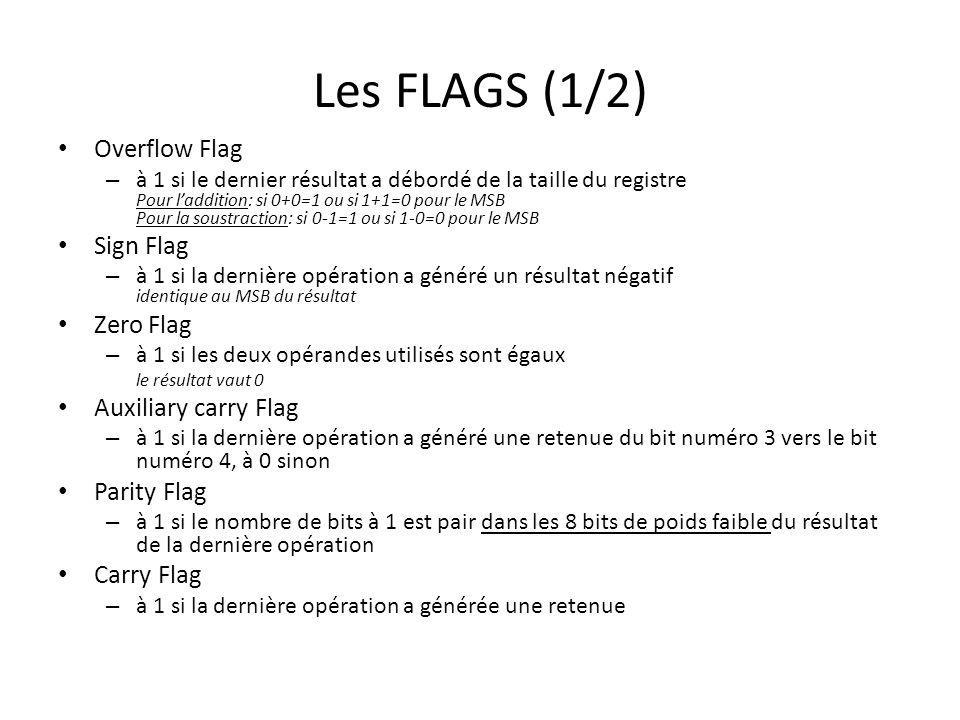 Les FLAGS (1/2) Overflow Flag Sign Flag Zero Flag Auxiliary carry Flag