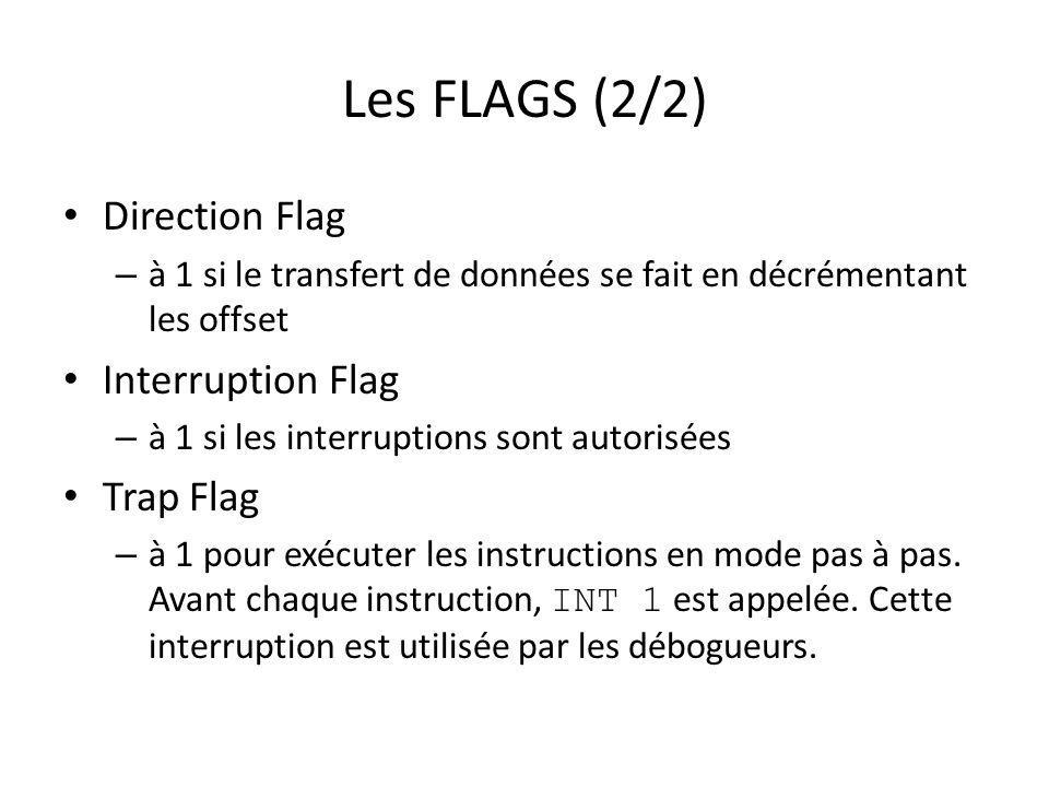 Les FLAGS (2/2) Direction Flag Interruption Flag Trap Flag