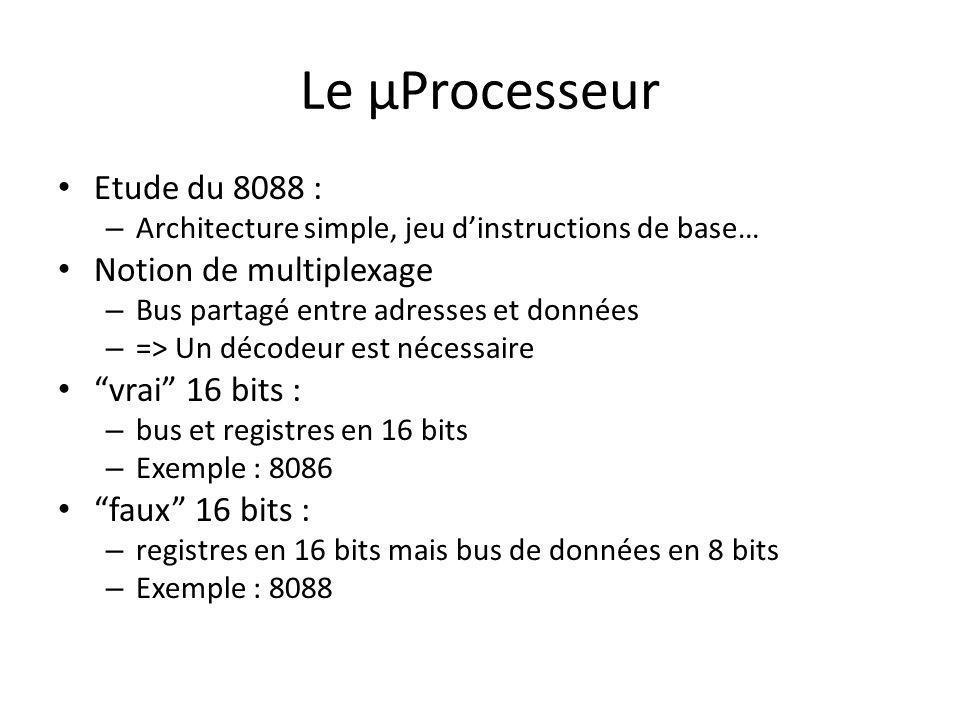 Le µProcesseur Etude du 8088 : Notion de multiplexage vrai 16 bits :