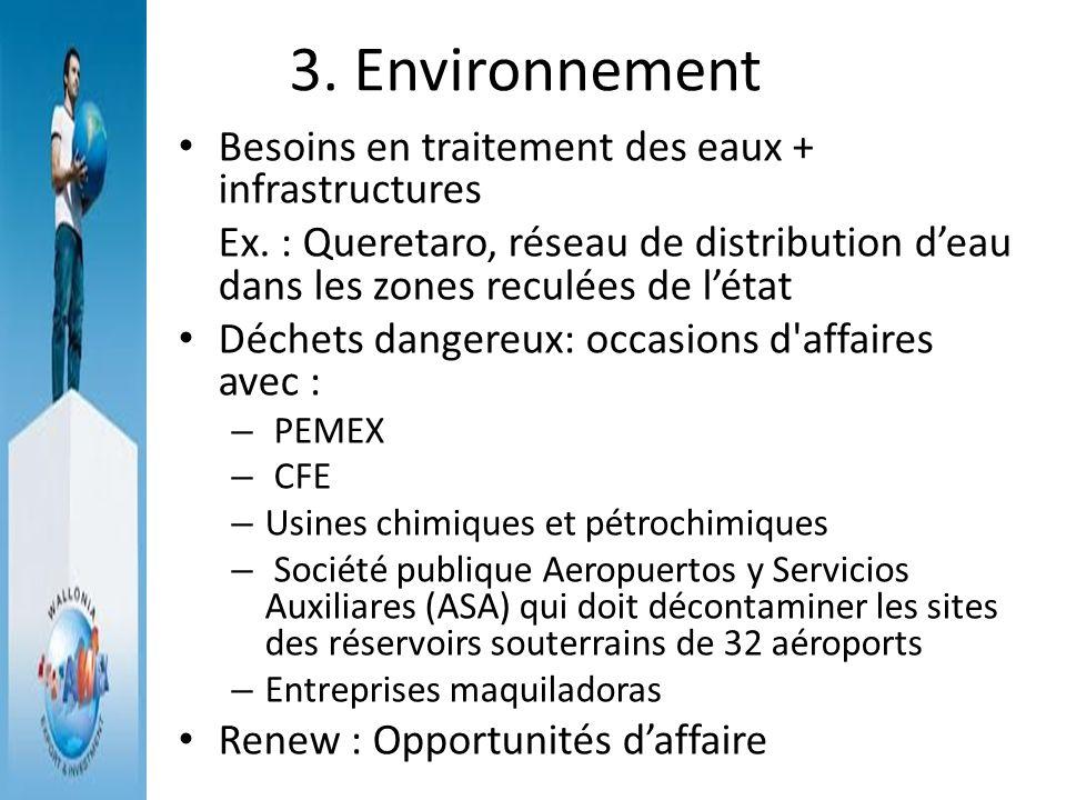 3. Environnement Besoins en traitement des eaux + infrastructures