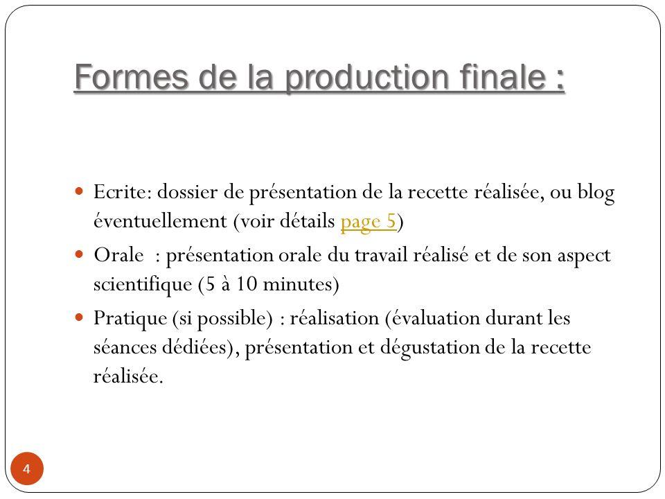 Formes de la production finale :
