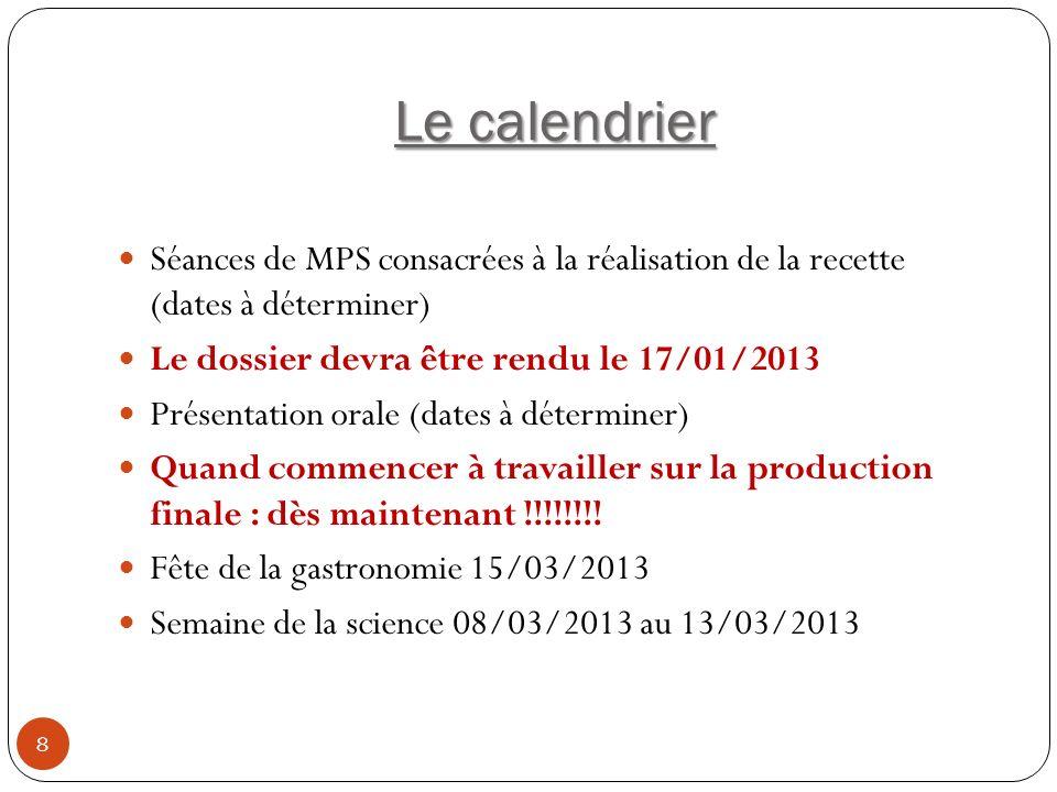 Le calendrier Séances de MPS consacrées à la réalisation de la recette (dates à déterminer) Le dossier devra être rendu le 17/01/2013.
