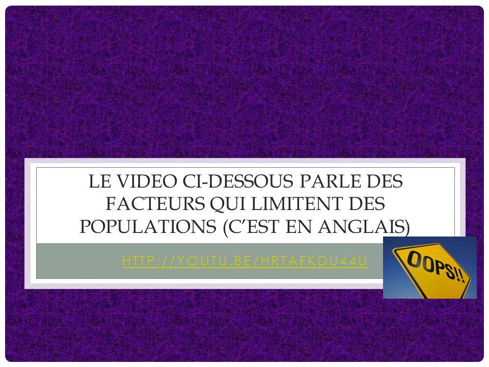 le video ci-dessous parle des facteurs qui limitent des populations (c'est en anglais)