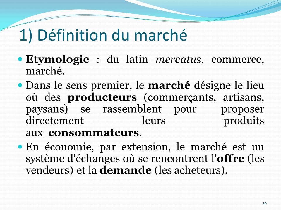 1) Définition du marché Etymologie : du latin mercatus, commerce, marché.