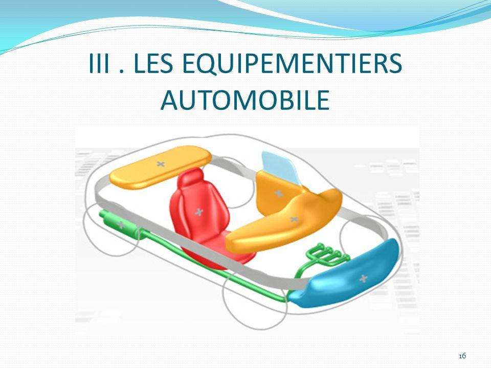 III . LES EQUIPEMENTIERS AUTOMOBILE