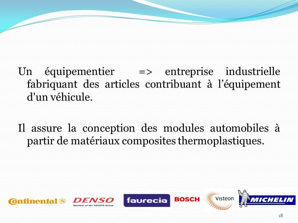 Un équipementier => entreprise industrielle fabriquant des articles contribuant à l'équipement d un véhicule.