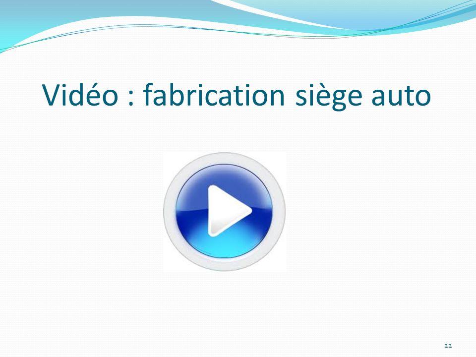 Vidéo : fabrication siège auto