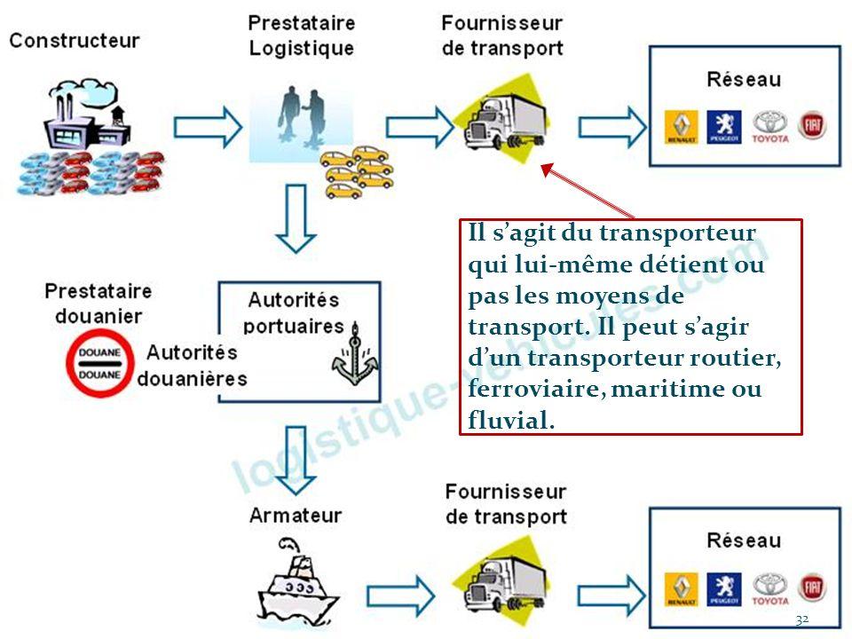 Il s'agit du transporteur qui lui-même détient ou pas les moyens de transport. Il peut s'agir d'un transporteur routier, ferroviaire, maritime ou fluvial.