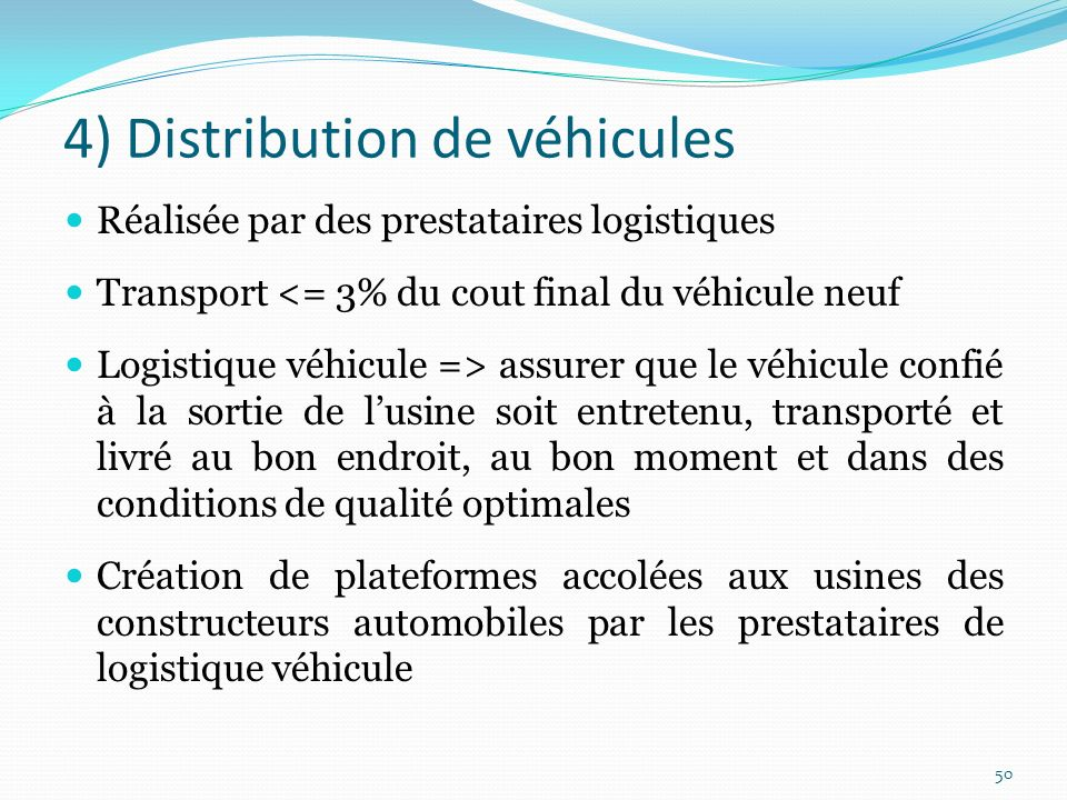 4) Distribution de véhicules