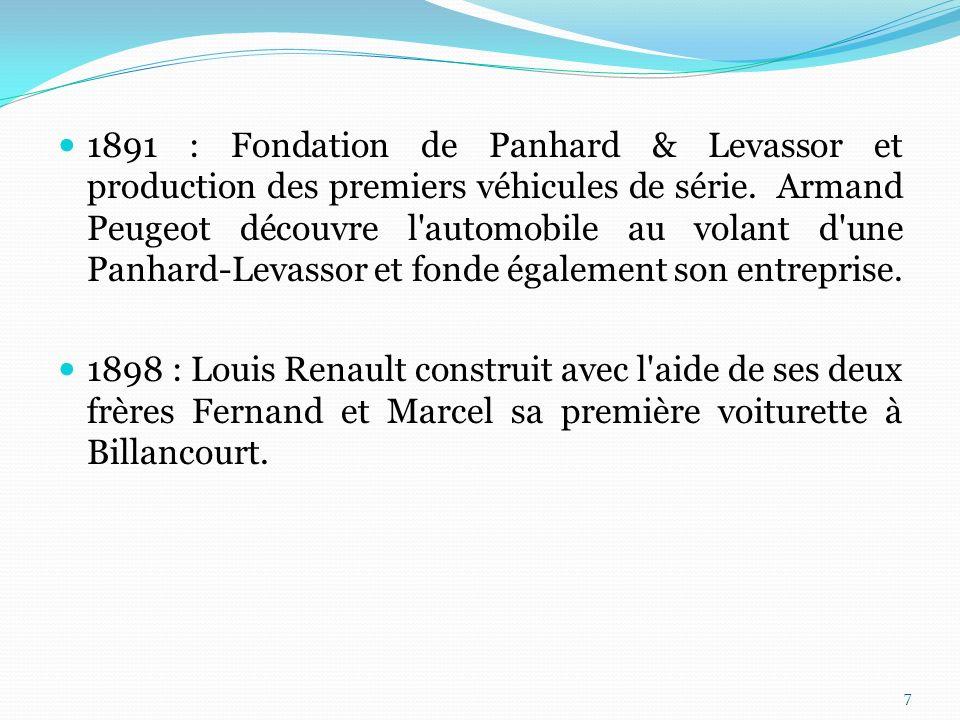 1891 : Fondation de Panhard & Levassor et production des premiers véhicules de série. Armand Peugeot découvre l automobile au volant d une Panhard-Levassor et fonde également son entreprise.