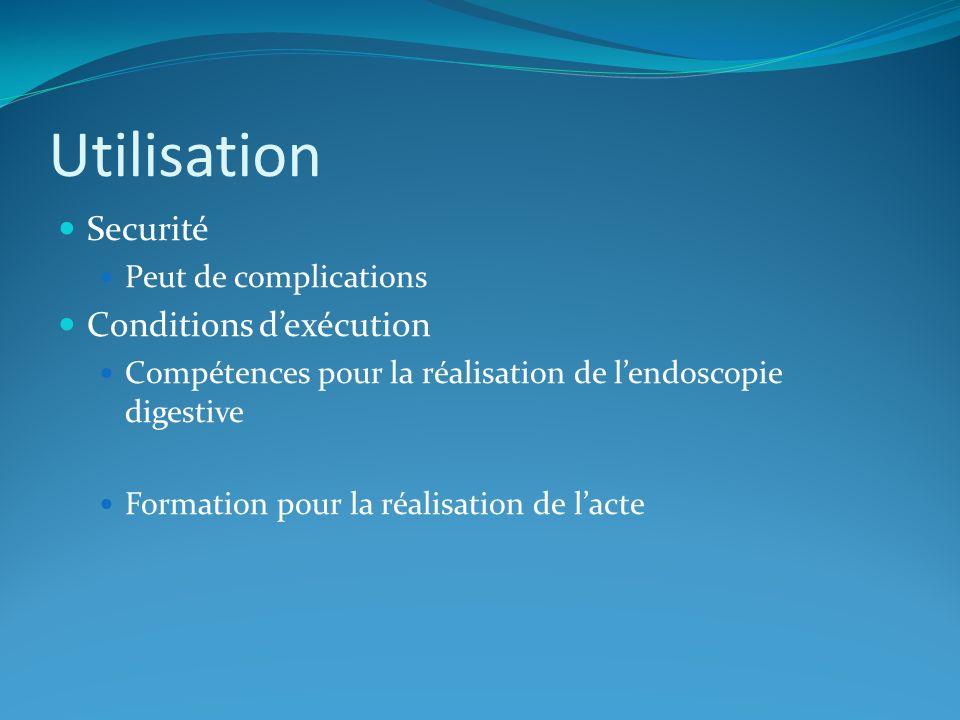 Utilisation Securité Conditions d'exécution Peut de complications