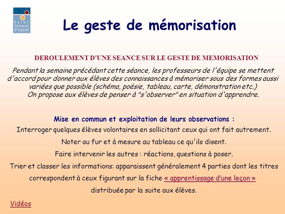 Le geste de mémorisation