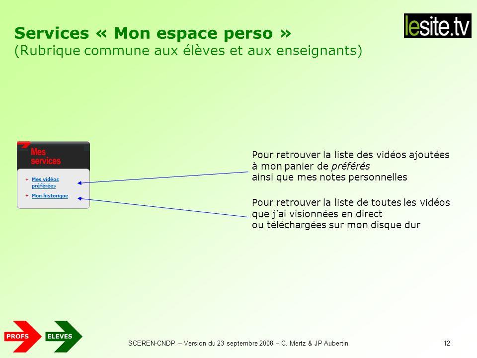 Services « Espace Profs » (Rubrique réservée aux enseignants)