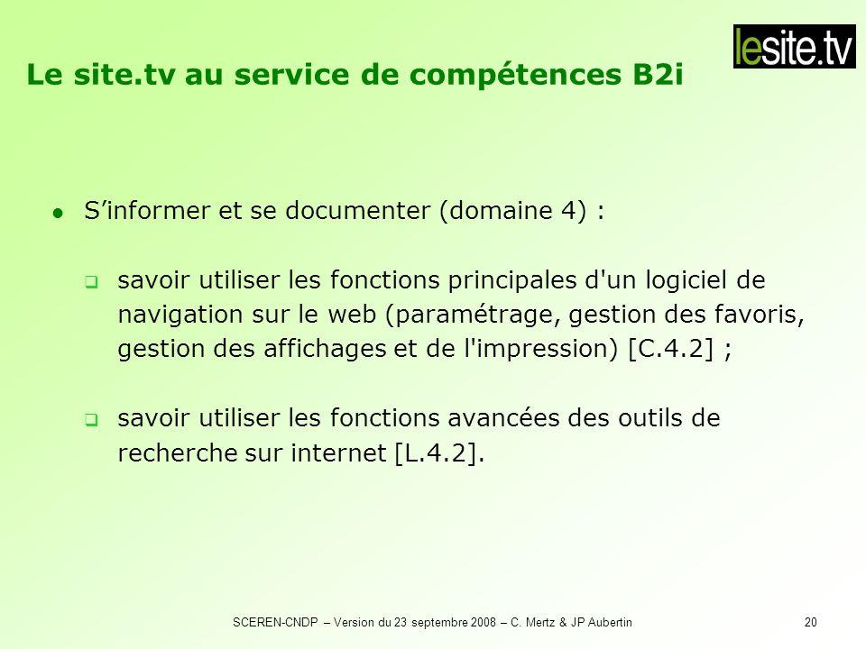 Le site.tv au service de compétences B2i