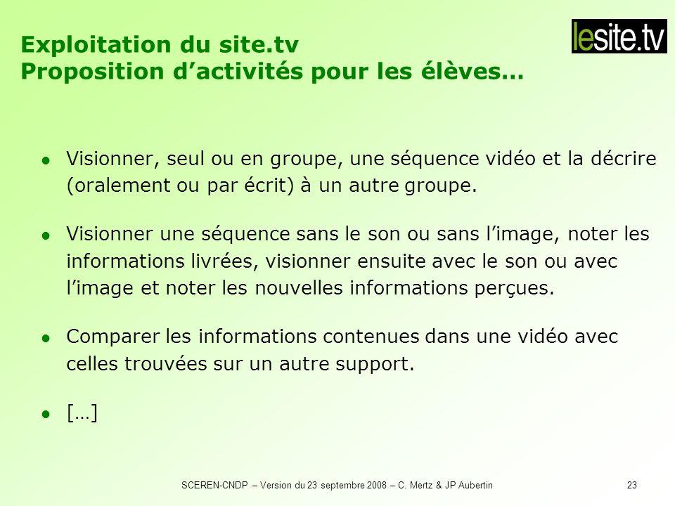 Exploitation du site.tv Proposition d'activités pour les élèves…