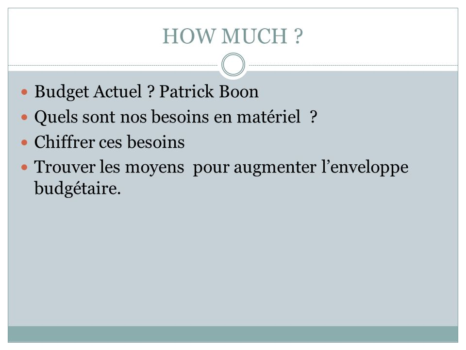 HOW MUCH Budget Actuel Patrick Boon