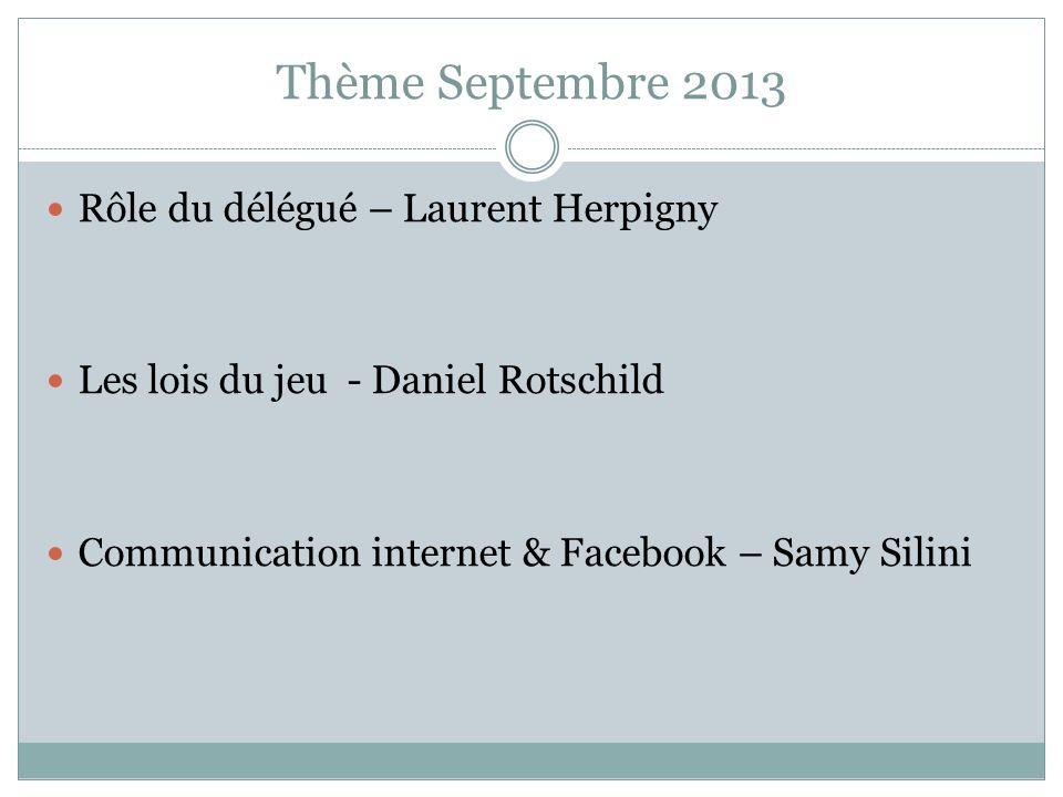 Thème Septembre 2013 Rôle du délégué – Laurent Herpigny