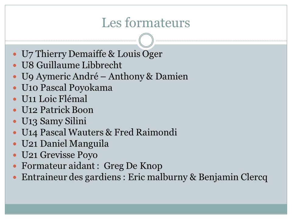 Les formateurs U7 Thierry Demaiffe & Louis Oger U8 Guillaume Libbrecht