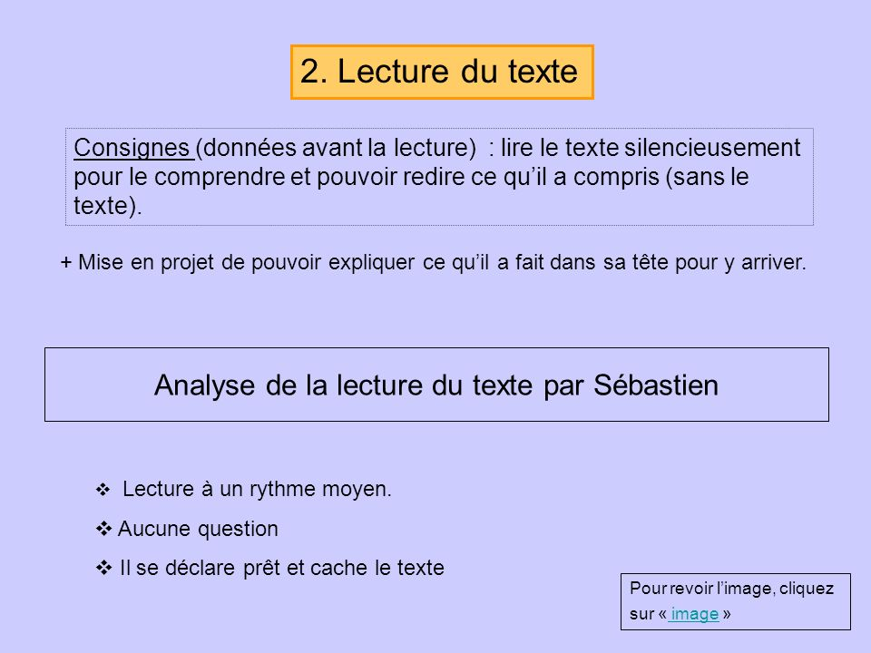 Analyse de la lecture du texte par Sébastien