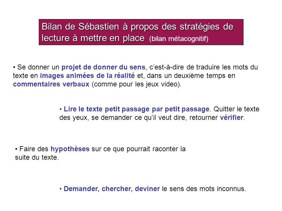 Bilan de Sébastien à propos des stratégies de lecture à mettre en place (bilan métacognitif)
