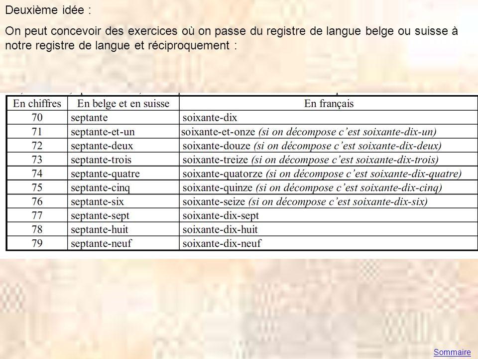 Deuxième idée : On peut concevoir des exercices où on passe du registre de langue belge ou suisse à notre registre de langue et réciproquement :