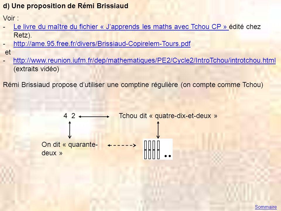 d) Une proposition de Rémi Brissiaud