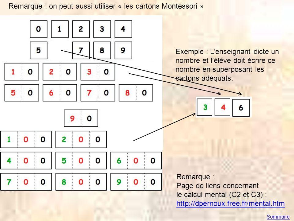 Remarque : on peut aussi utiliser « les cartons Montessori »