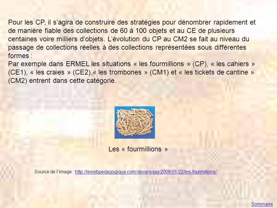 Pour les CP, il s'agira de construire des stratégies pour dénombrer rapidement et de manière fiable des collections de 60 à 100 objets et au CE de plusieurs centaines voire milliers d'objets. L'évolution du CP au CM2 se fait au niveau du passage de collections réelles à des collections représentées sous différentes formes : Par exemple dans ERMEL les situations « les fourmillions » (CP), « les cahiers » (CE1), « les craies » (CE2),« les trombones » (CM1) et « les tickets de cantine » (CM2) entrent dans cette catégorie.