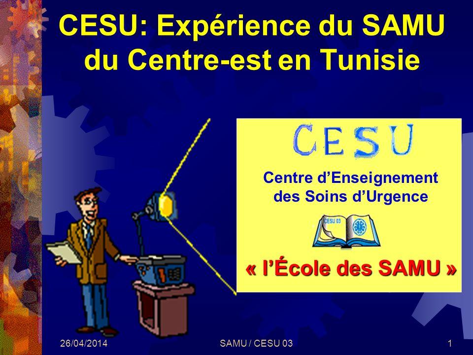 CESU: Expérience du SAMU du Centre-est en Tunisie