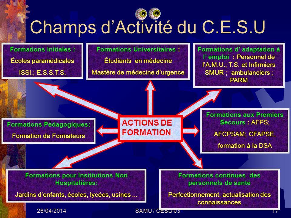 Champs d'Activité du C.E.S.U