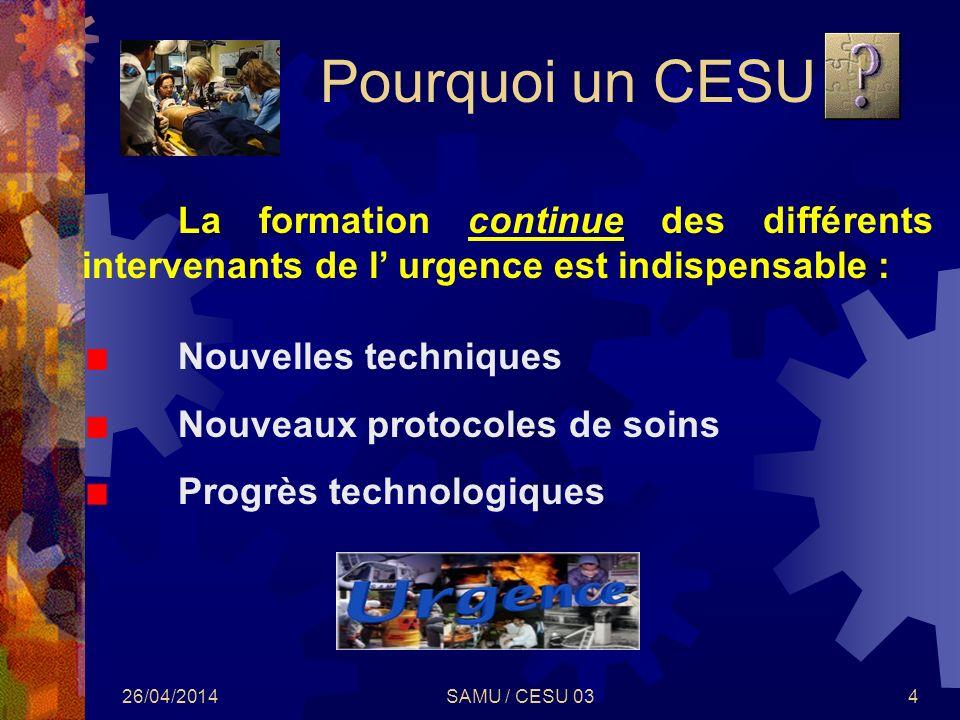 Pourquoi un CESU La formation continue des différents intervenants de l' urgence est indispensable :