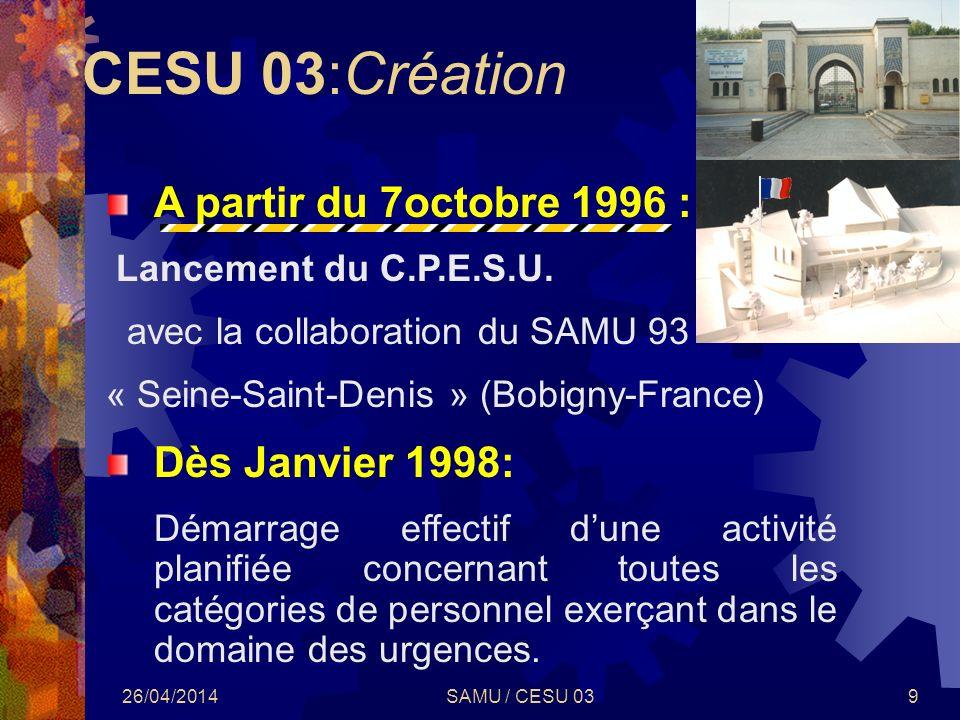 CESU 03:Création A partir du 7octobre 1996 : Dès Janvier 1998: