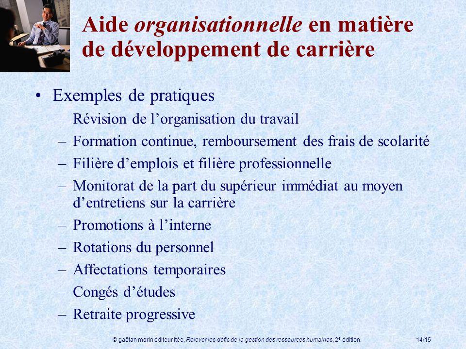 Aide organisationnelle en matière de développement de carrière