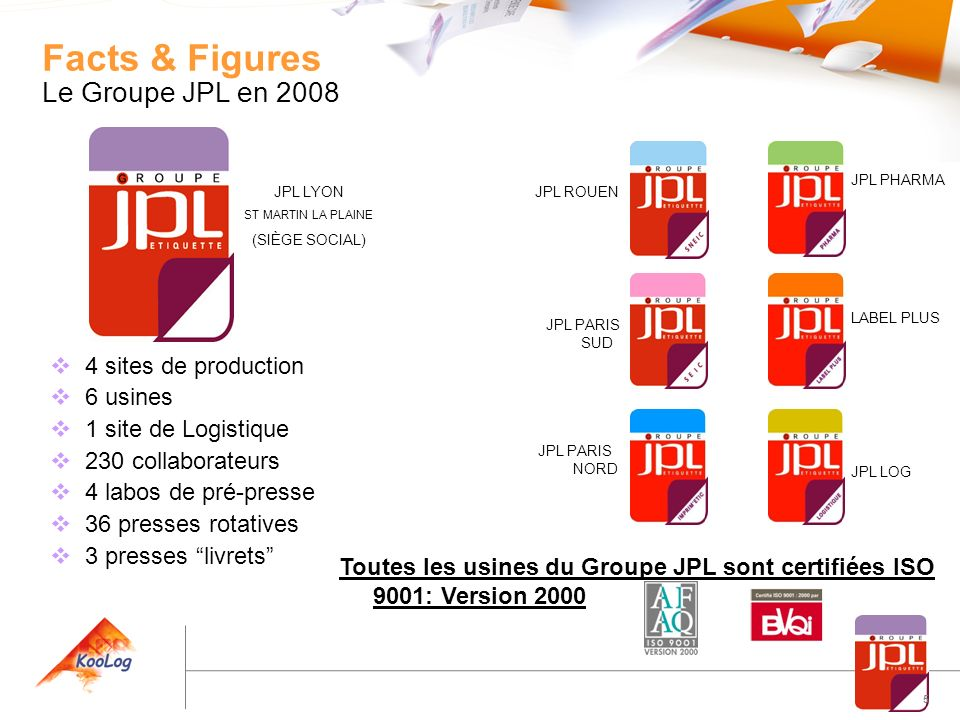 Facts & Figures Le Groupe JPL en 2008 4 sites de production 6 usines