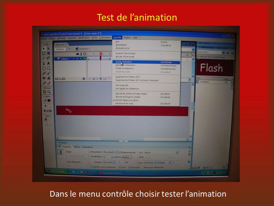 Dans le menu contrôle choisir tester l'animation