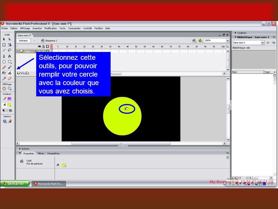Sélectionnez cette outils, pour pouvoir remplir votre cercle avec la couleur que vous avez choisis.